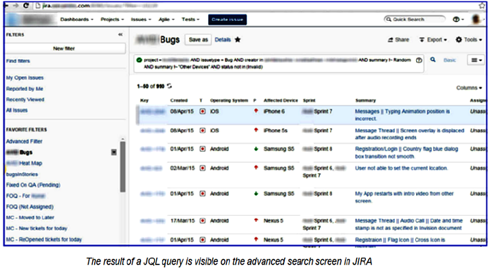 JIRA screen showing result of a JQL query