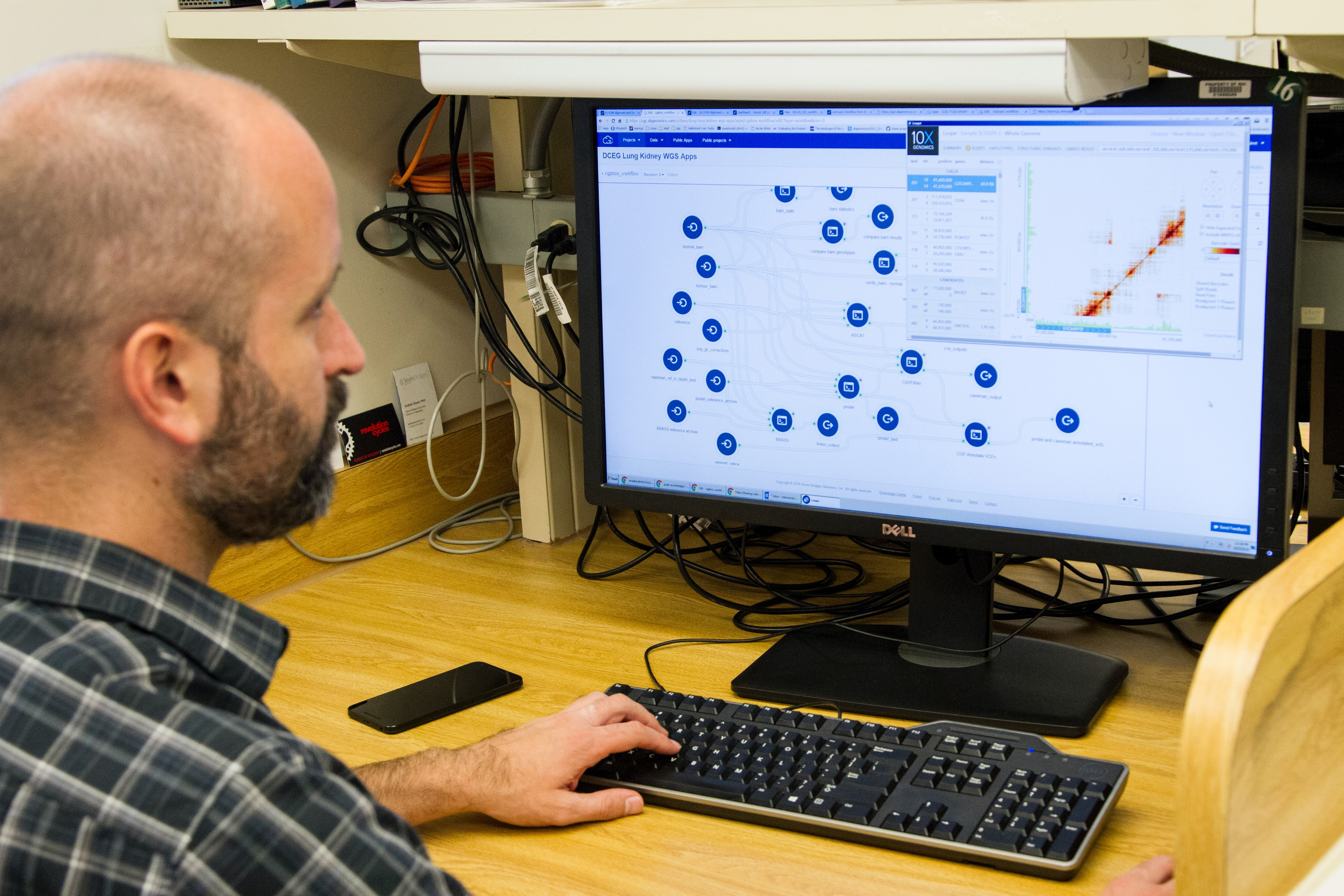 Man analyzing risk using computer software